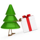 Christmas tree push gift — Stock Photo