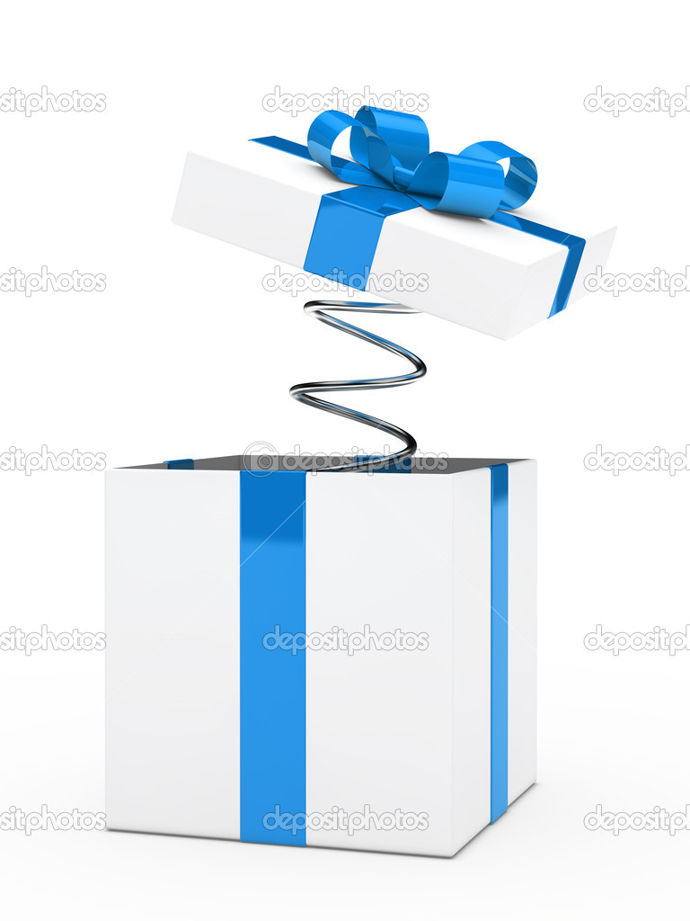 Christmas blue white gift box with ribbon  Photo #11075441
