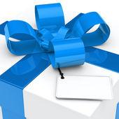 Gift box blue ribbon — Stock Photo