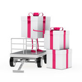 Gift box onload trolley — Stock Photo