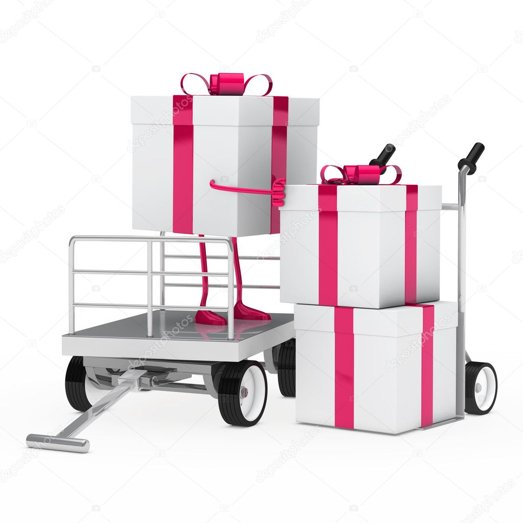 Pink white gift box onload a trolley — Stock Photo #12188924