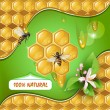 Background with bees and honeycomb — Stock Vector #11317914