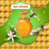 Jar of honey with wooden dipper, bees and flower — Stock Vector