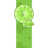 Vertical banner with juicy slices of lime fruit — Stock Vector