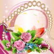 Beautiful background with pink roses — Stock Vector