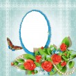 Frame with red roses - Stock vektor