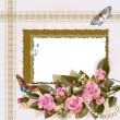 Frame with pink roses and pearls — Stock Vector