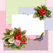 Frame with beautiful roses — Stock Vector