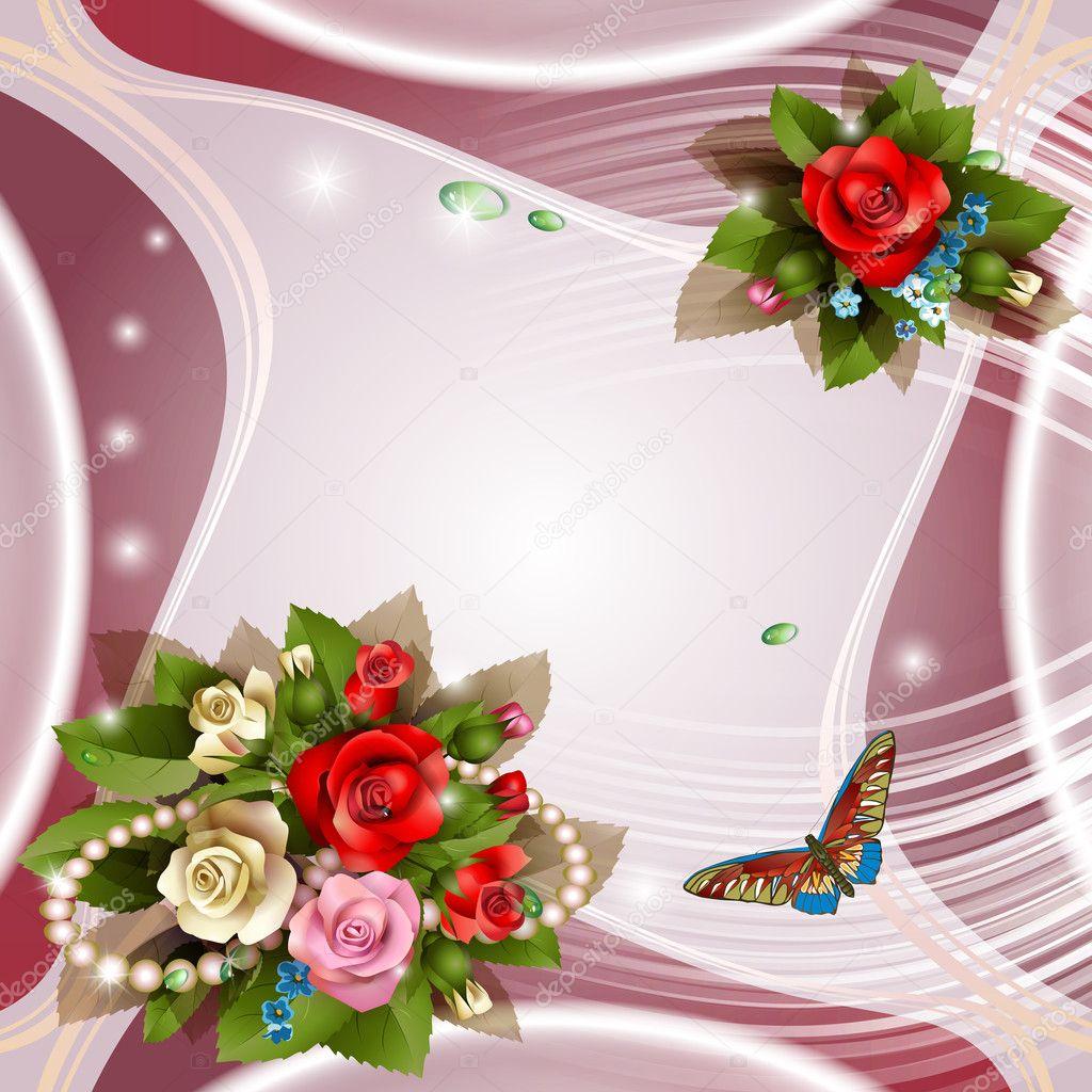 Elegante fondo con hermosas rosas — Vector de stock © Vericika
