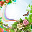 Elegant background with beautiful roses and rainbow — Stock Vector #11949850