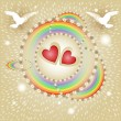 Wektor stockowy : Background with hearts, flowers,rainbow and pigeons
