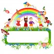 Multiracial kids and a banner — Stock Vector #12055416