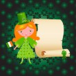 Royalty-Free Stock Vector Image: St. Patrick's Day card with cute girl