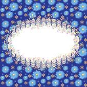 青色の背景に花とカード — ストックベクタ