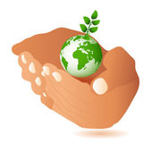 Hands and Earth — Stock Vector
