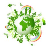 Eco planet and kids — Stock Vector