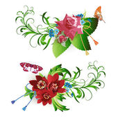 Flowers arrangement and butterflies — Stockvector