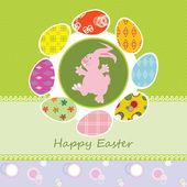Kartka wielkanocna z happy bunny — Wektor stockowy