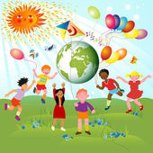 Children of different races and planet — Stock Vector