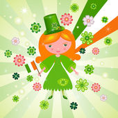 St. Patrick's Day with cute girl — Stock Vector