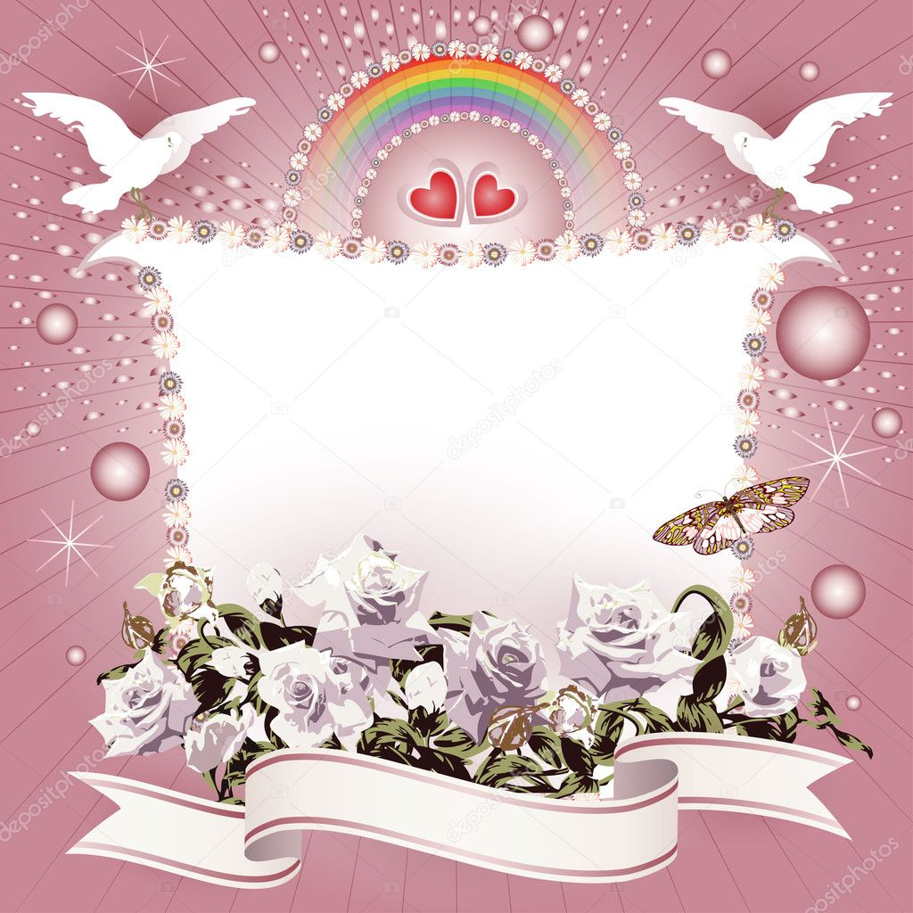 Background with hearts and banner with flowers, ribbon, pigeon, for special day  — Stock Vector #12055270