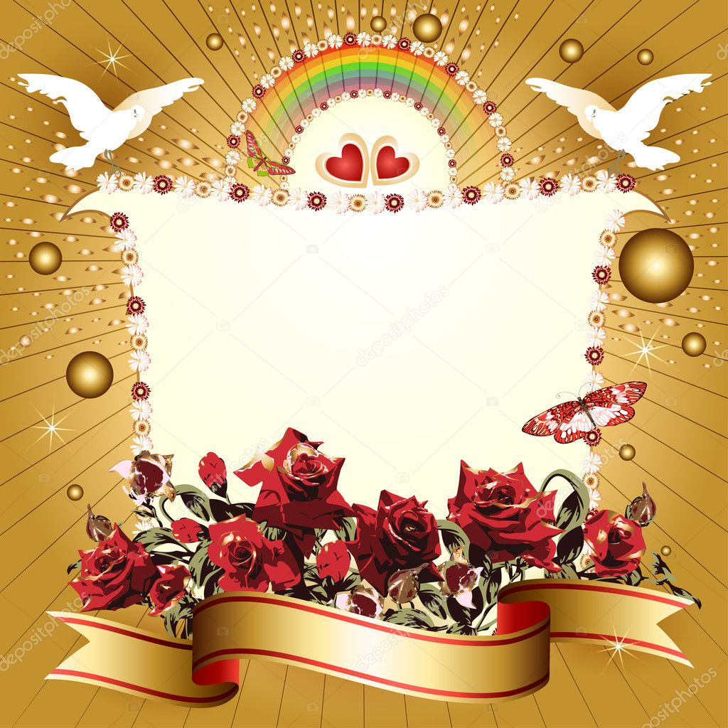 Background with hearts and banner with flowers, ribbon, pigeon, for special day  — Stock Vector #12055282