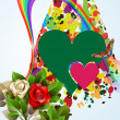Background with hearts, roses and rainbow — Stock Vector