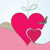 Background with red hearts and butterfly — Stockvektor