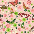Seamless pattern with butterflies and flowers — Stock Vector