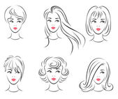 Illustration of the six options for women's hairstyles. — Stock Vector