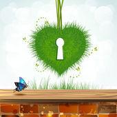 Serce trawa — Wektor stockowy