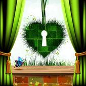 Corazón de hierba — Vector de stock