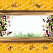 Bees and honeycombs — Stock Vector