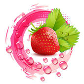 Strawberry with leafs — Stock Vector