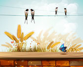 Krajina s pšenice — Stock vektor
