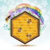 Las abejas y panales — Vector de stock