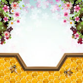 Včely a voštiny — Stock vektor