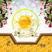 Honey and bees — Stock Vector
