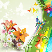 Lilies and butterflies — Stock Vector
