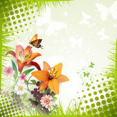 Lilies and butterflies — Stock Vector