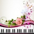 Piano keys with rose — Stock Vector