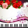 Piano keys with roses — Stock Vector