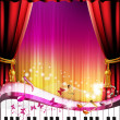 Piano keys with red curtain — Image vectorielle