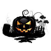 Black pumpkin and cemetery — Stock Vector