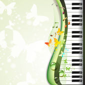 Piano keys with butterflies — Stock Vector
