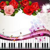 Piano keys with roses — Stock Vector