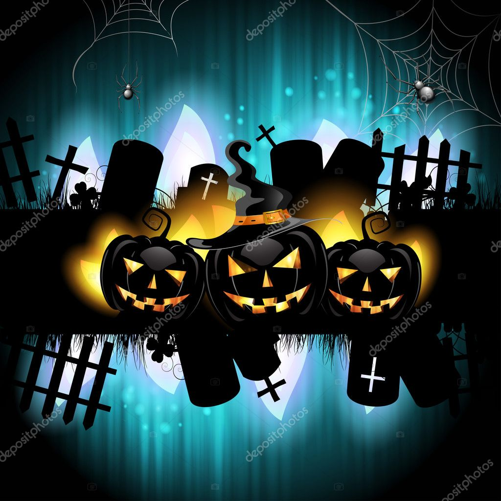 Halloween background with cemetery and pumpkin — Stock Vector #12352217