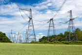 High-voltage line in the sky — Stock Photo