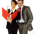 Business man and woman looking at files — Stock Photo
