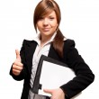 Business woman making thumb up ok gesture — Stock Photo